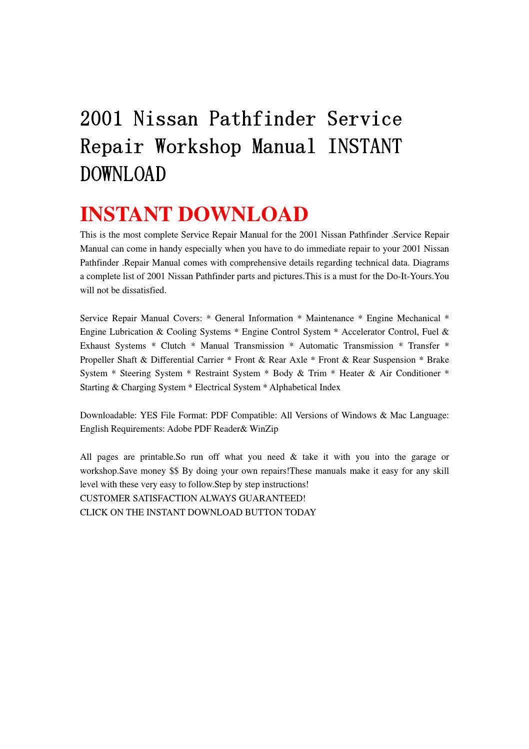 2001 nissan pathfinder service repair workshop manual. Black Bedroom Furniture Sets. Home Design Ideas