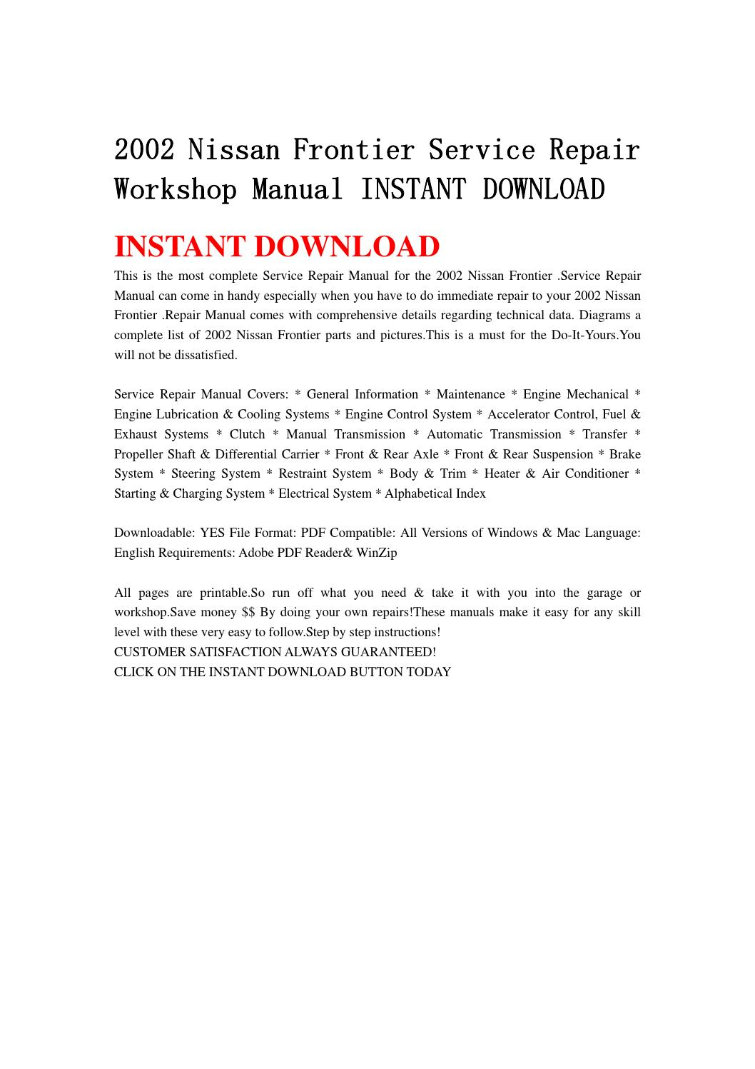 2002 Nissan Frontier Service Repair Workshop Manual Instant Download By Kmjfnh Njhy