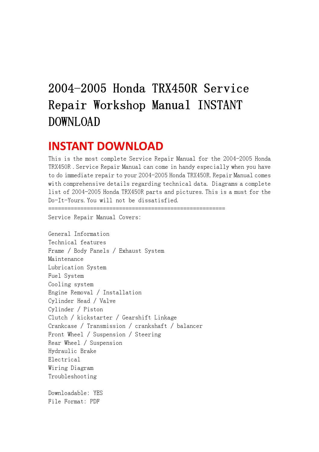 honda trx450r service repair manual 2004 2005 pdf download autos post honda trx450r service manual pdf honda 450 r service manual pdf