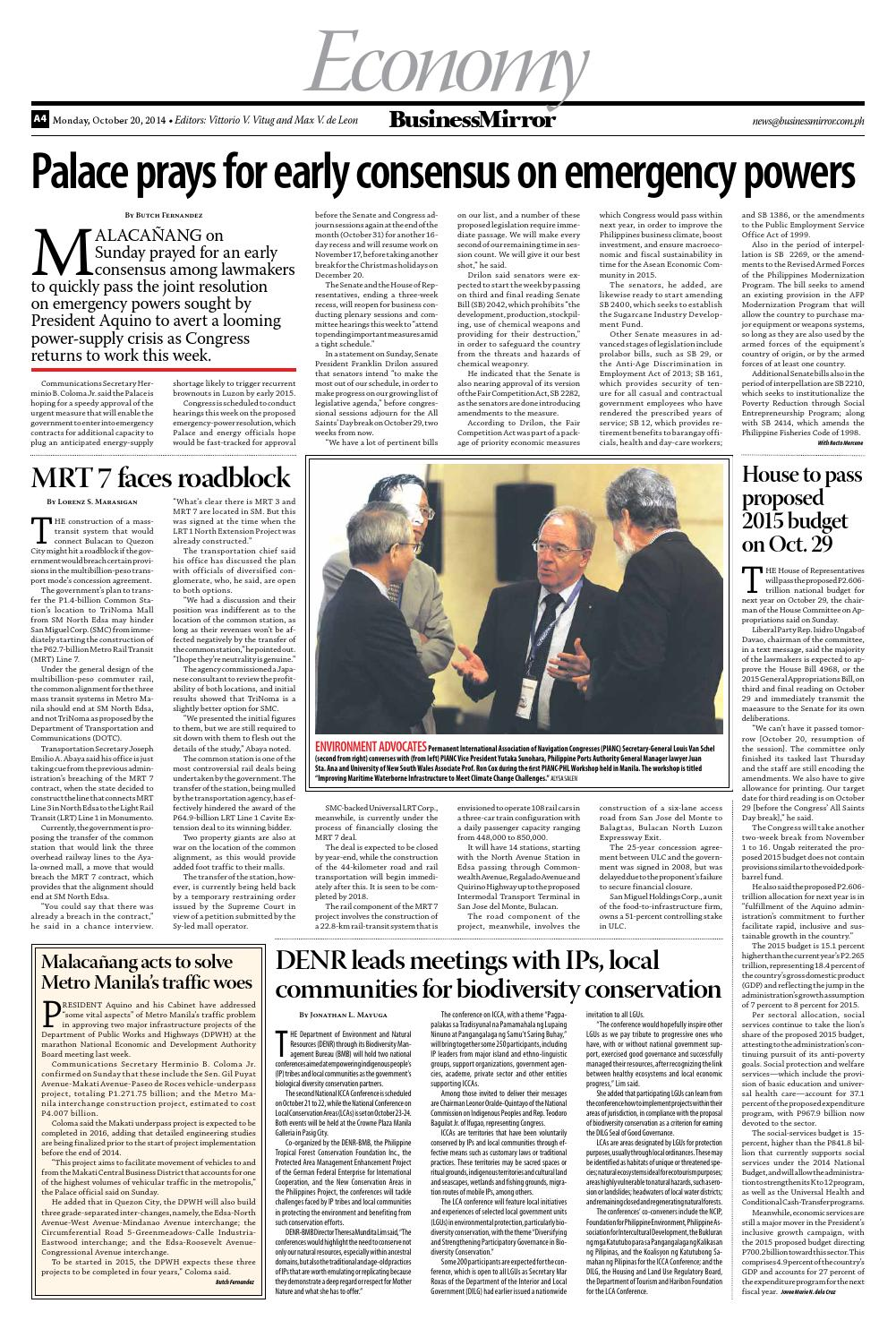 Businessmirror 10 20 2014 by BusinessMirror - issuu