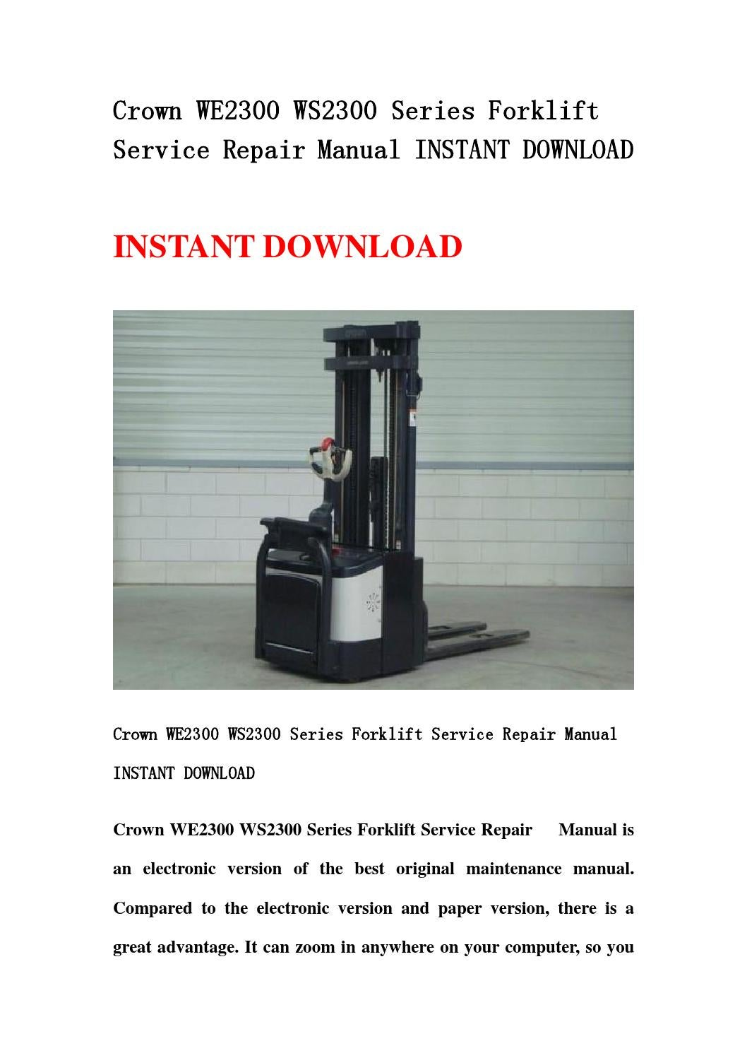 Crown WE2300 WS2300 Series Forklift Service amp Parts Manual