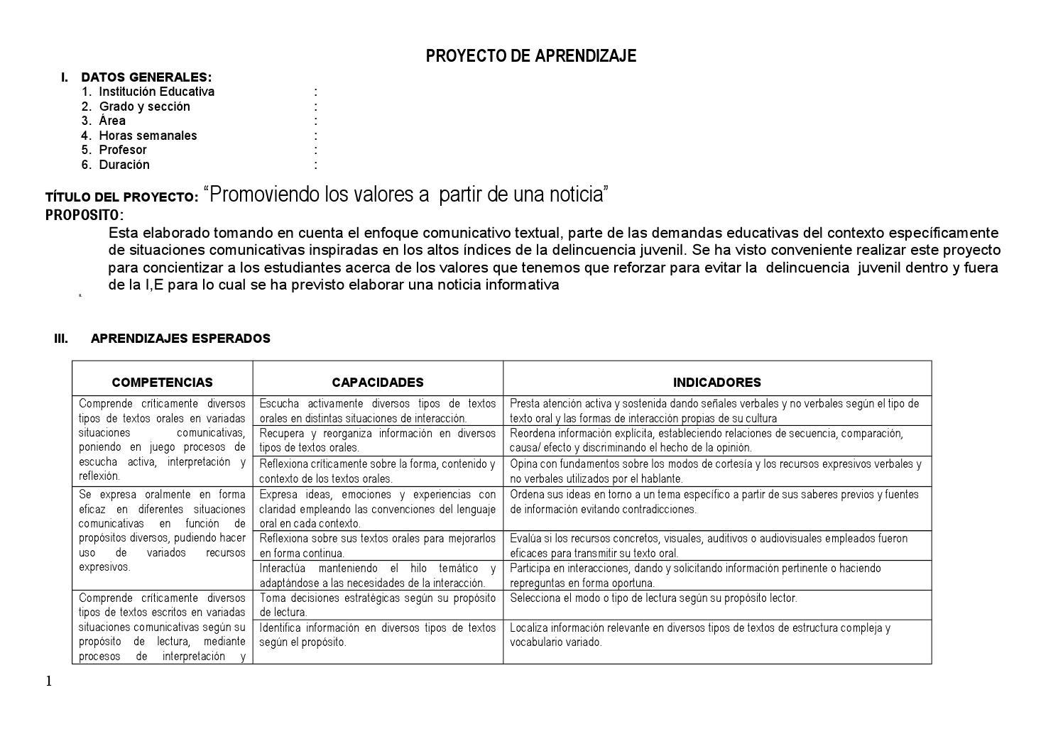 Proyecto De Aprendizaje Para Corefo By Maruja Rivera Ponce