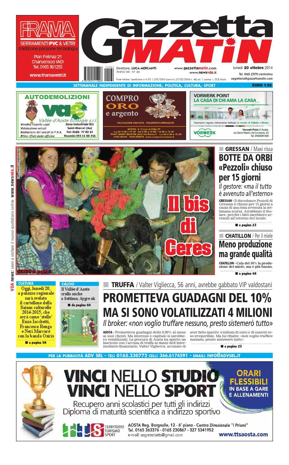 Gazzetta Matin Del 20 Ottobre 2014 By Newsvda Issuu