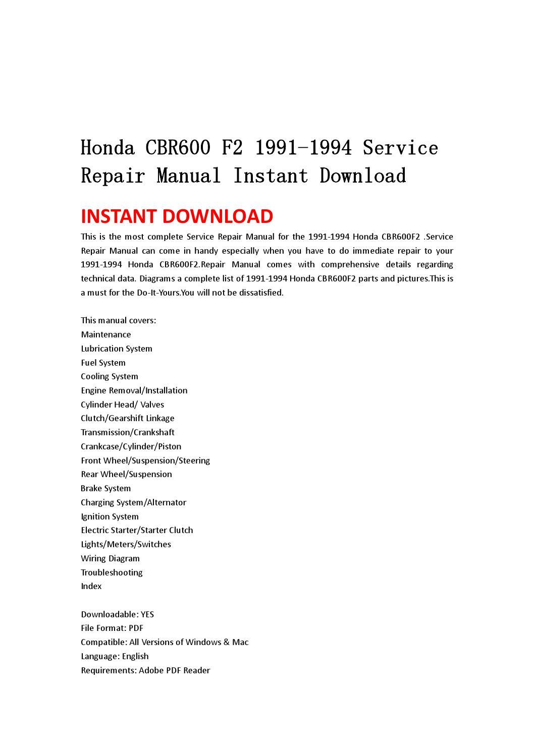 Honda Cbr600 F2 1991 1994 Service Repair Manual Instant