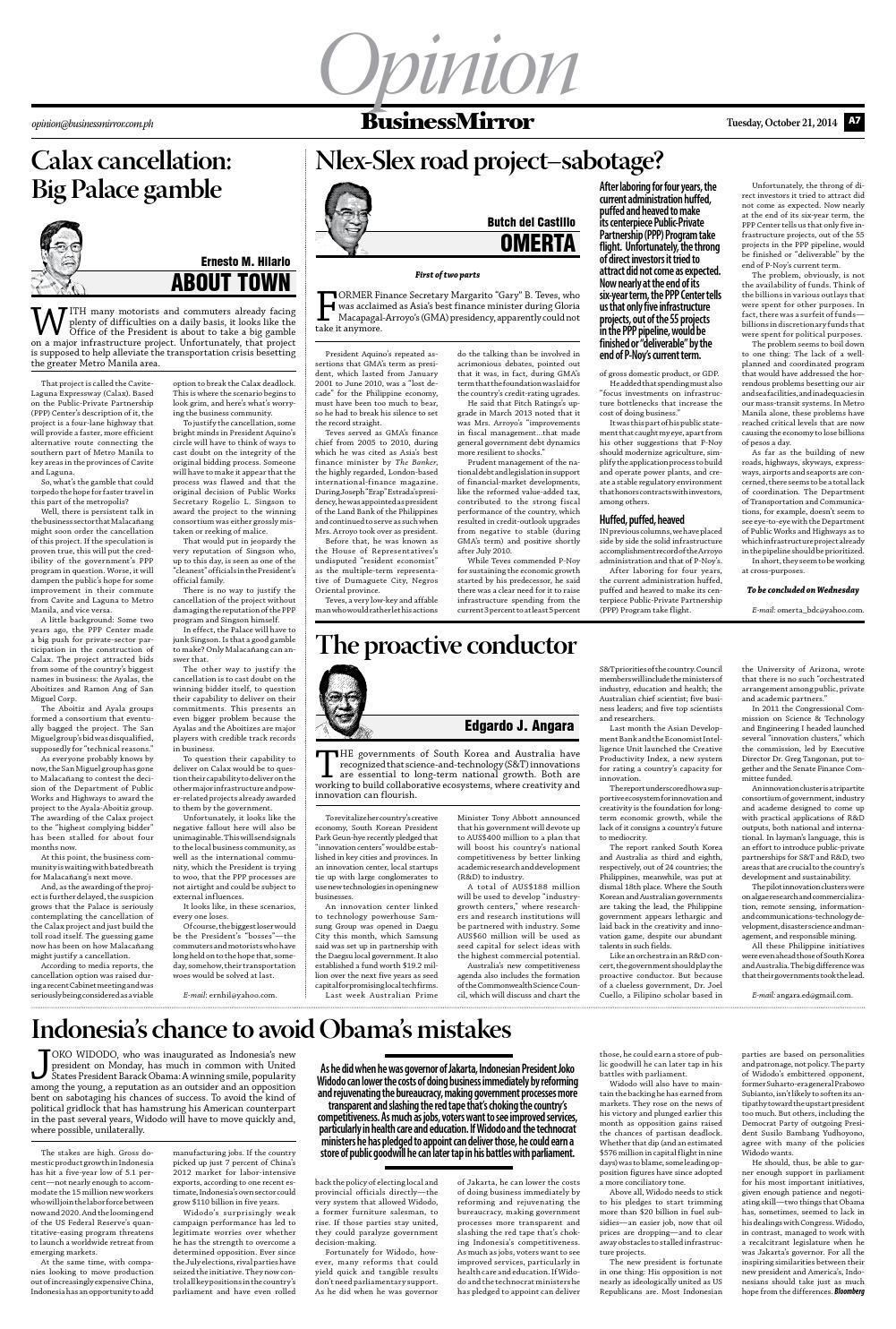 Businessmirror 10 21 2014 by BusinessMirror - issuu