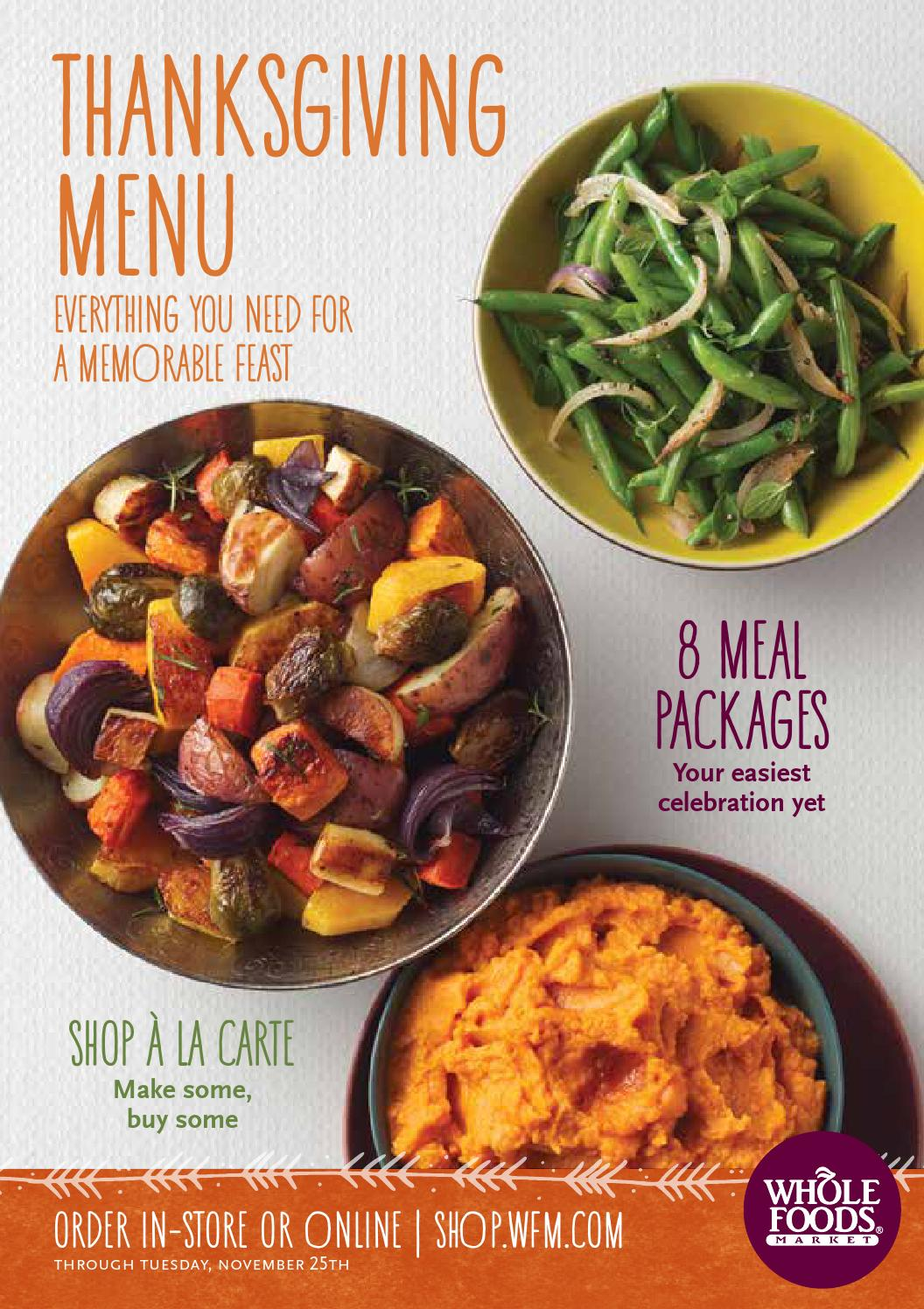 Whole Foods Market South Region Thanksgiving Menu by Whole Foods ...