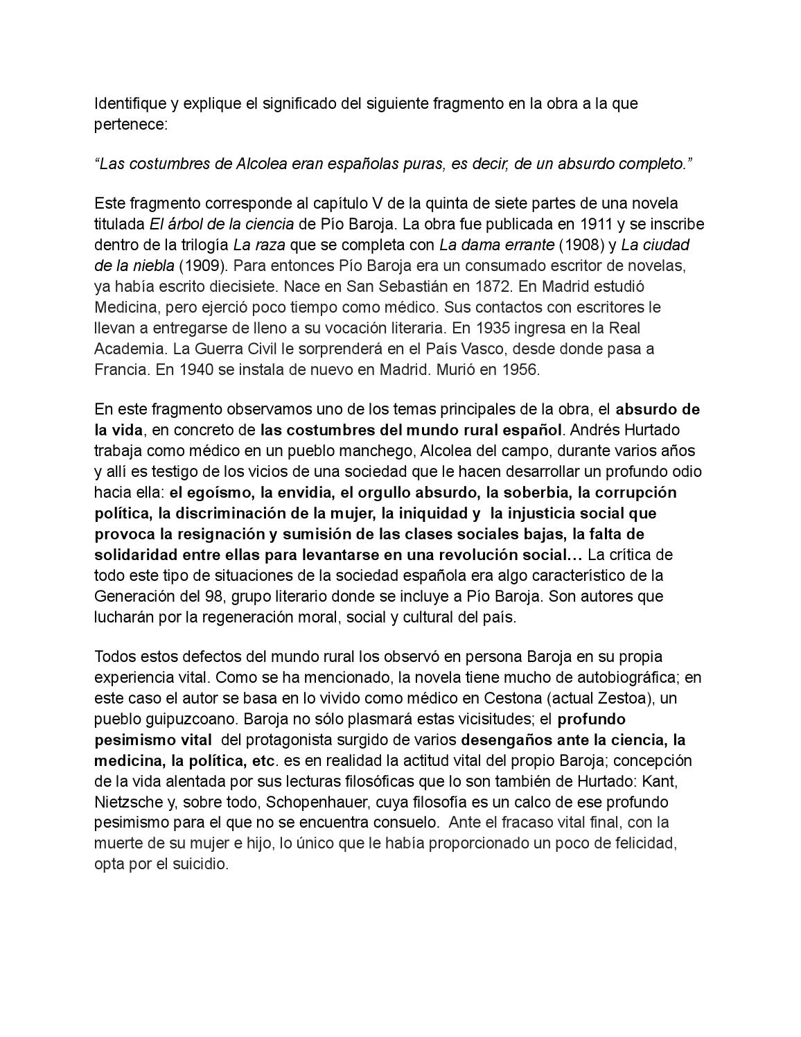 Comentarios a fragmentos de El árbol de la ciencia by Rosa