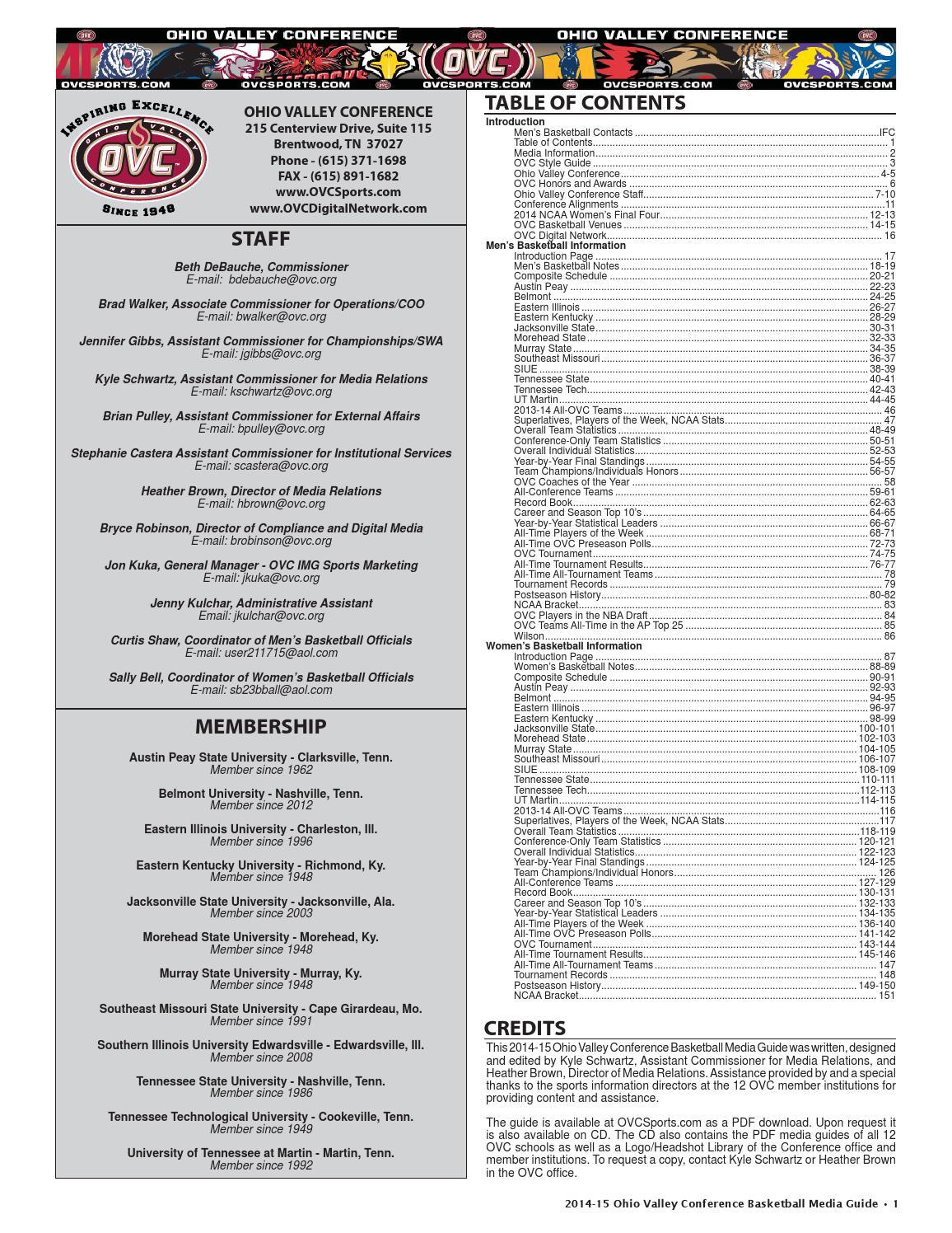 c42b39f44 2014-15 OVC Men s   Women s Basketball Media Guide by Kyle Schwartz - issuu
