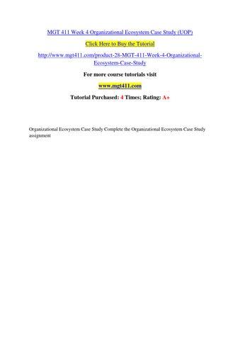 mgt 411 organizational ecosystem case study