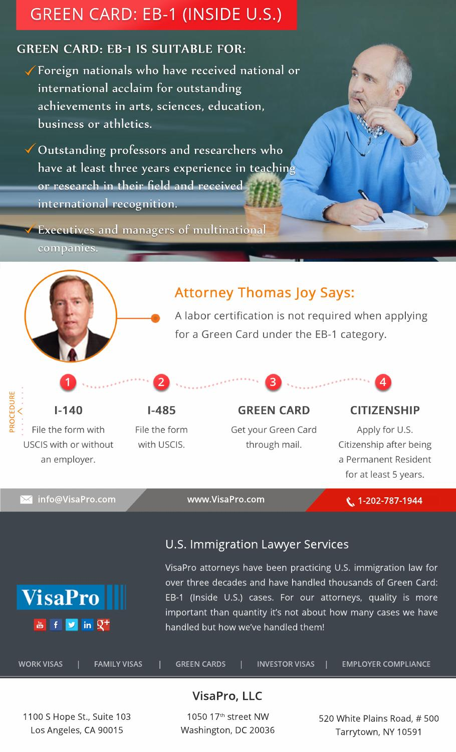 eb1 green card process by visapro immigration services llc