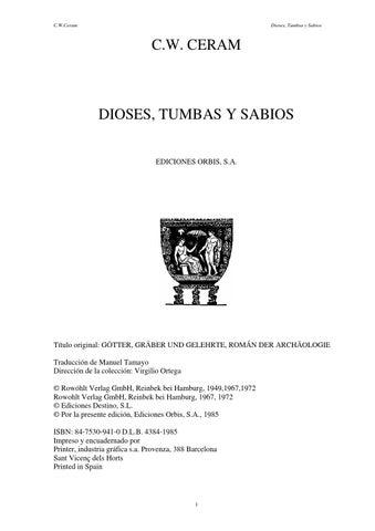 C.W. CERAM \'Dioses, Tumbas y Sabios\' by Historia y Arqueología - issuu