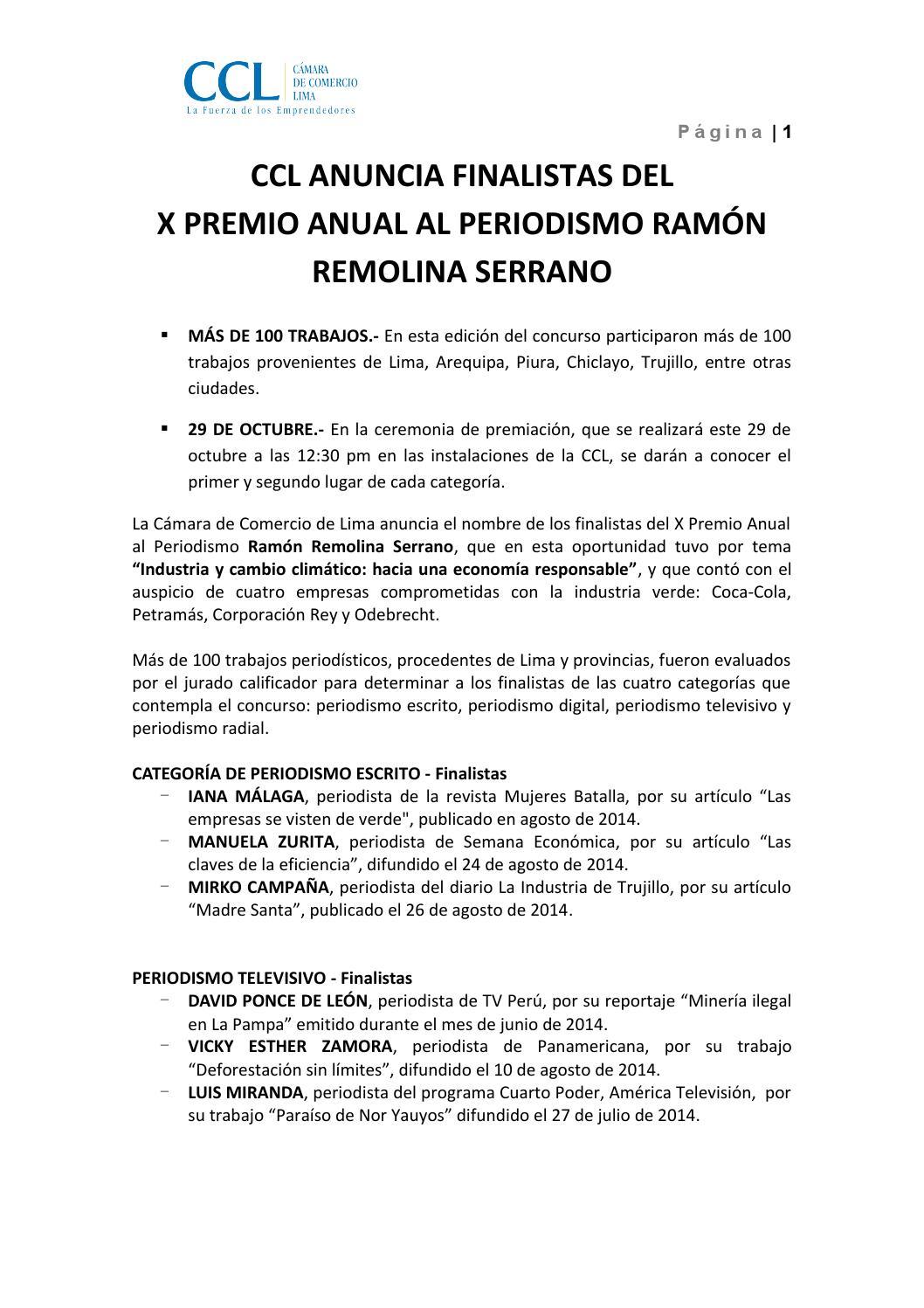 CCL anuncia finalistas de Premio Anual de Periodistas by Cámara de ...
