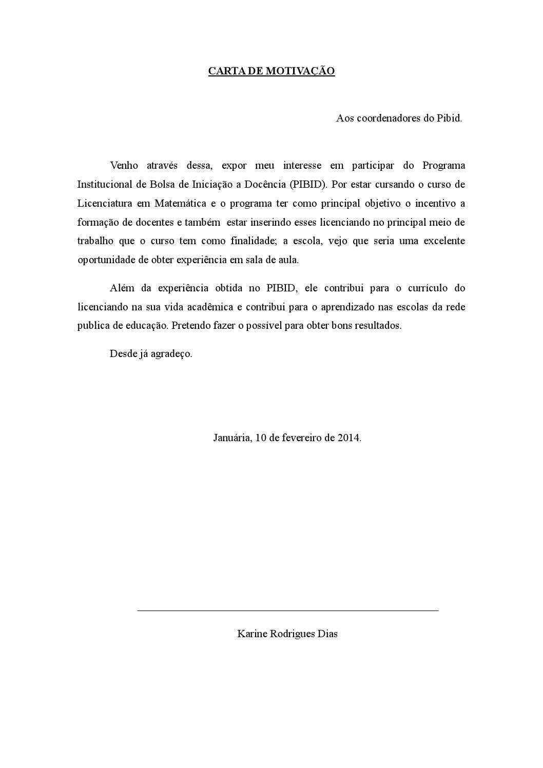 Carta De Motivação By Karine Dias Issuu