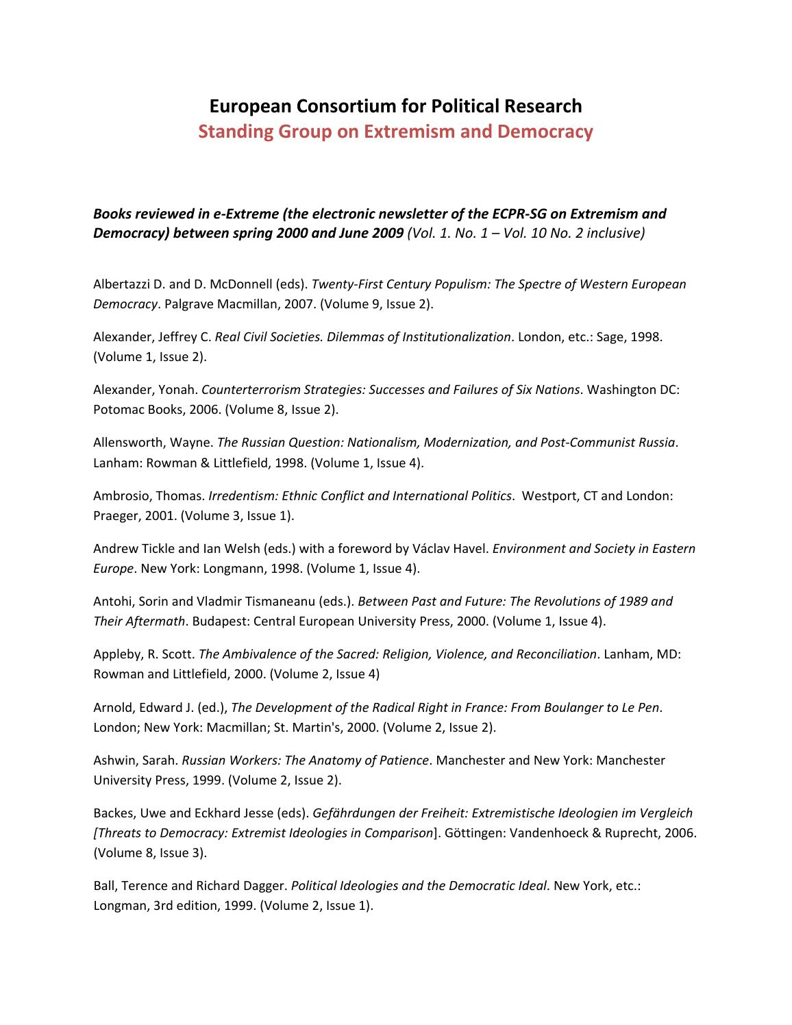 Index of book reviews (2000 2009) by Extremism & Democracy - issuu