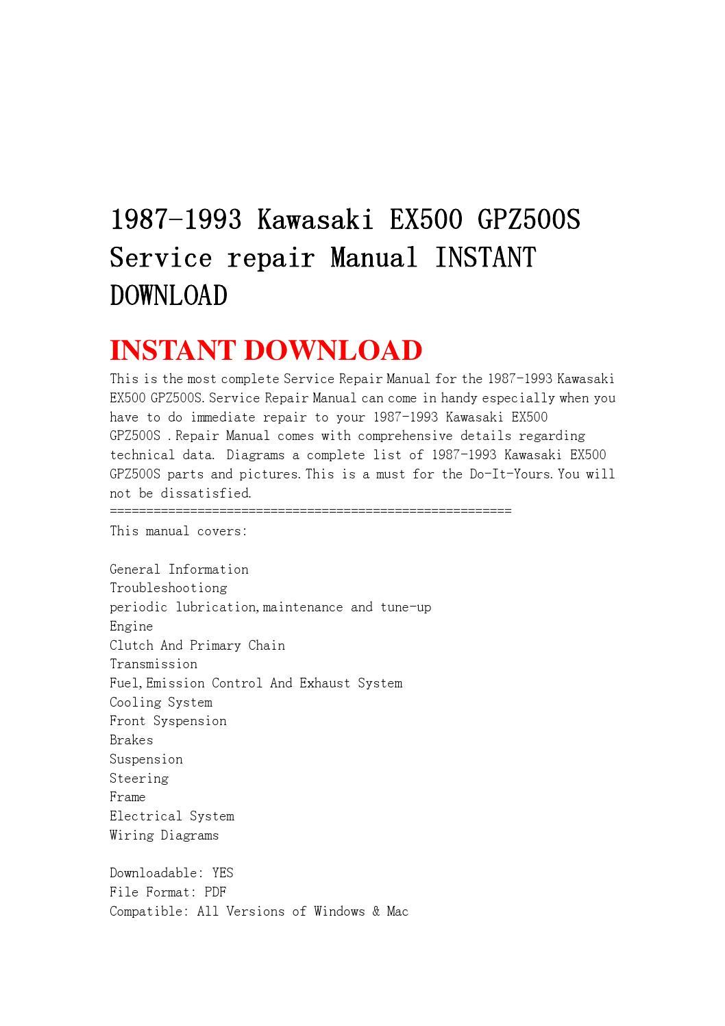 1987 1993 Kawasaki Ex500 Gpz500s Service Repair Manual