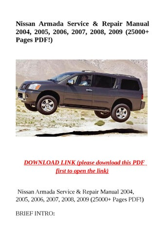 nissan armada service repair manual 2004 2005 2006. Black Bedroom Furniture Sets. Home Design Ideas