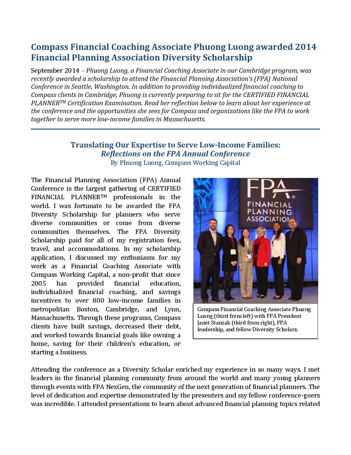 Compass Financial Coaching Associate Phuong Luong Awarded 2014 Fpa
