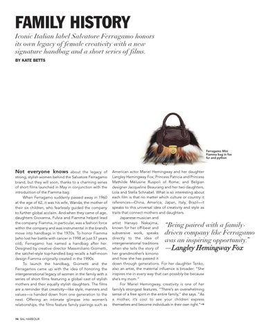 FAMILY HISTORY Iconic Italian label Salvatore Ferragamo honors its own  legacy of female creativity with a new signature handbag and a short series  of films. b8ddbb241f5ef