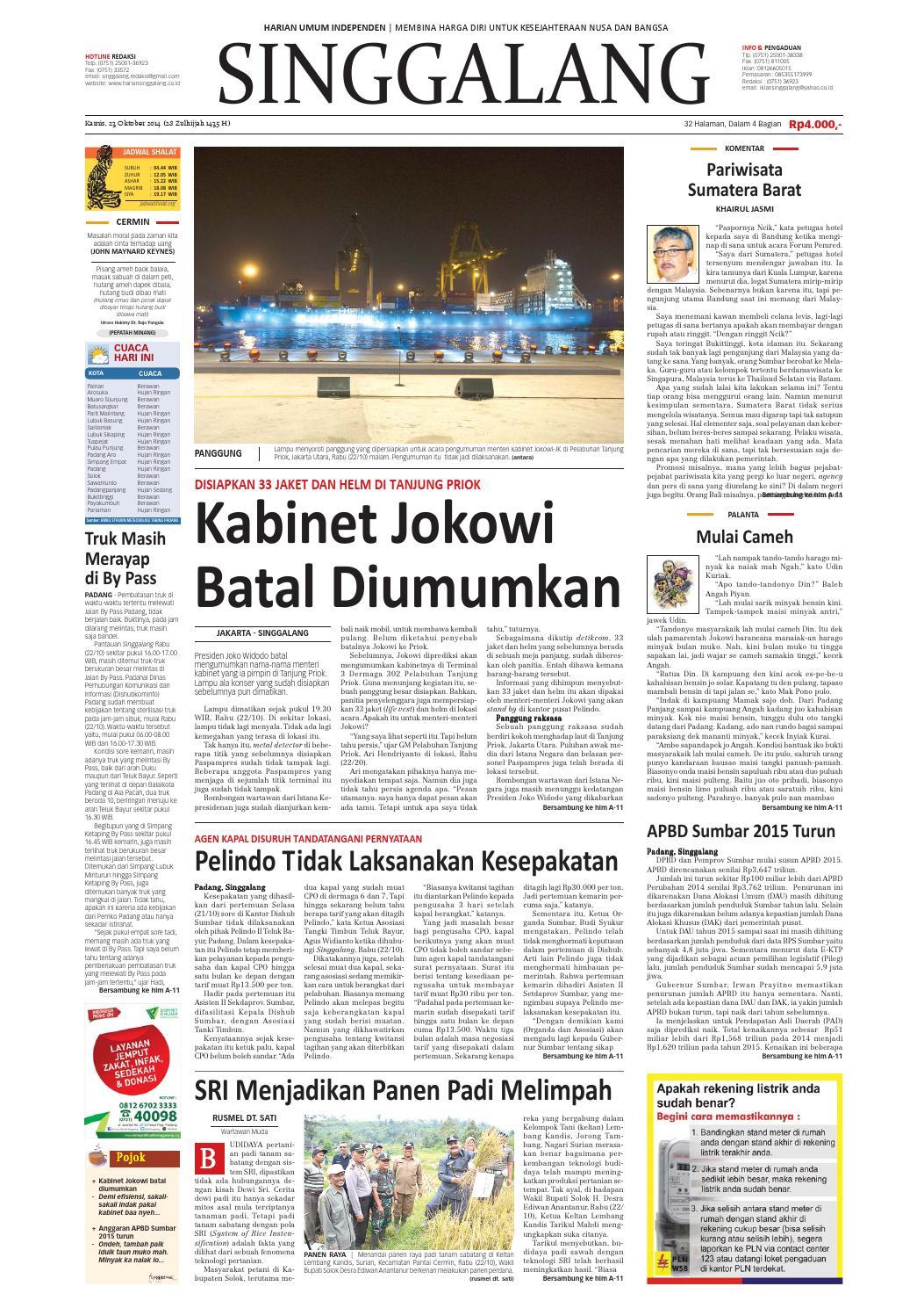 Harian Singgalang Kamis 23 Oktober 2014 By Issuu Produk Ukm Bumn Tenun Pagatan Kemeja Pria Biru Kapal