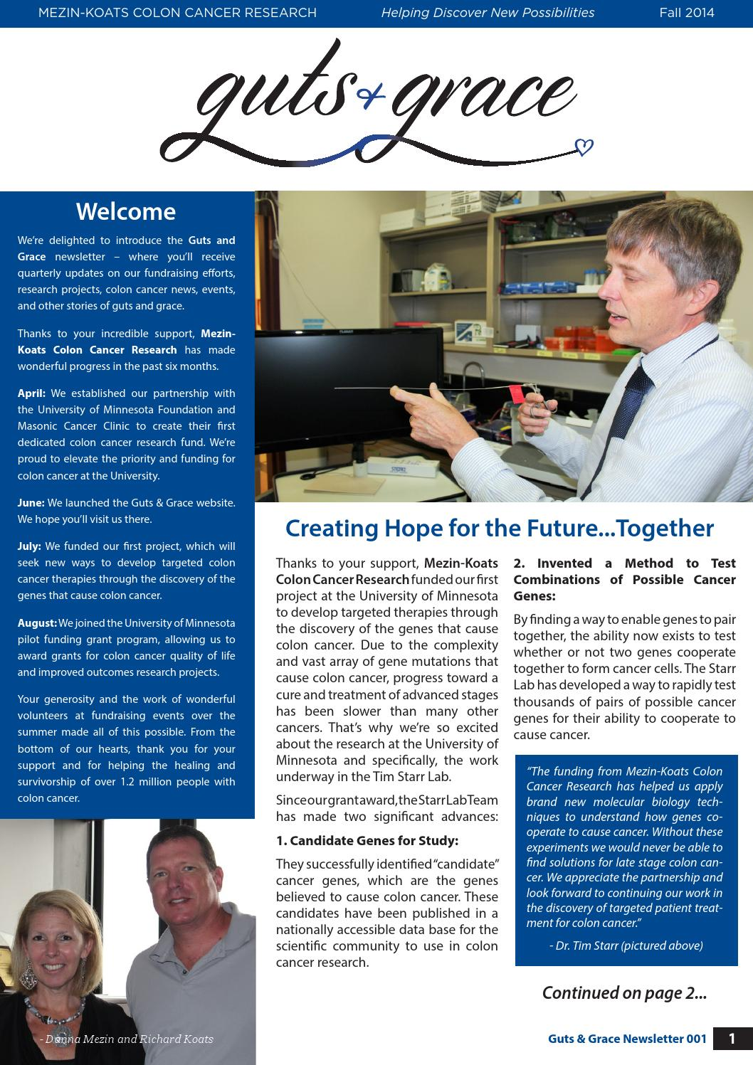 Mezin Koats Colon Cancer Research Newsletter Fall 2014 By Mezinkoats Issuu