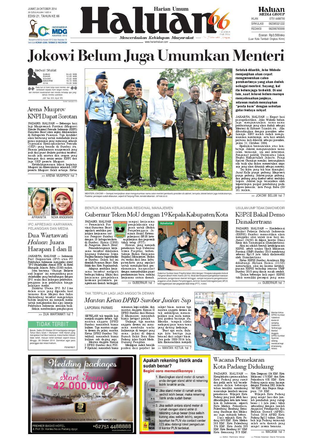 Haluan 24 Oktober 2014 by Harian Haluan - issuu 93eb01f605