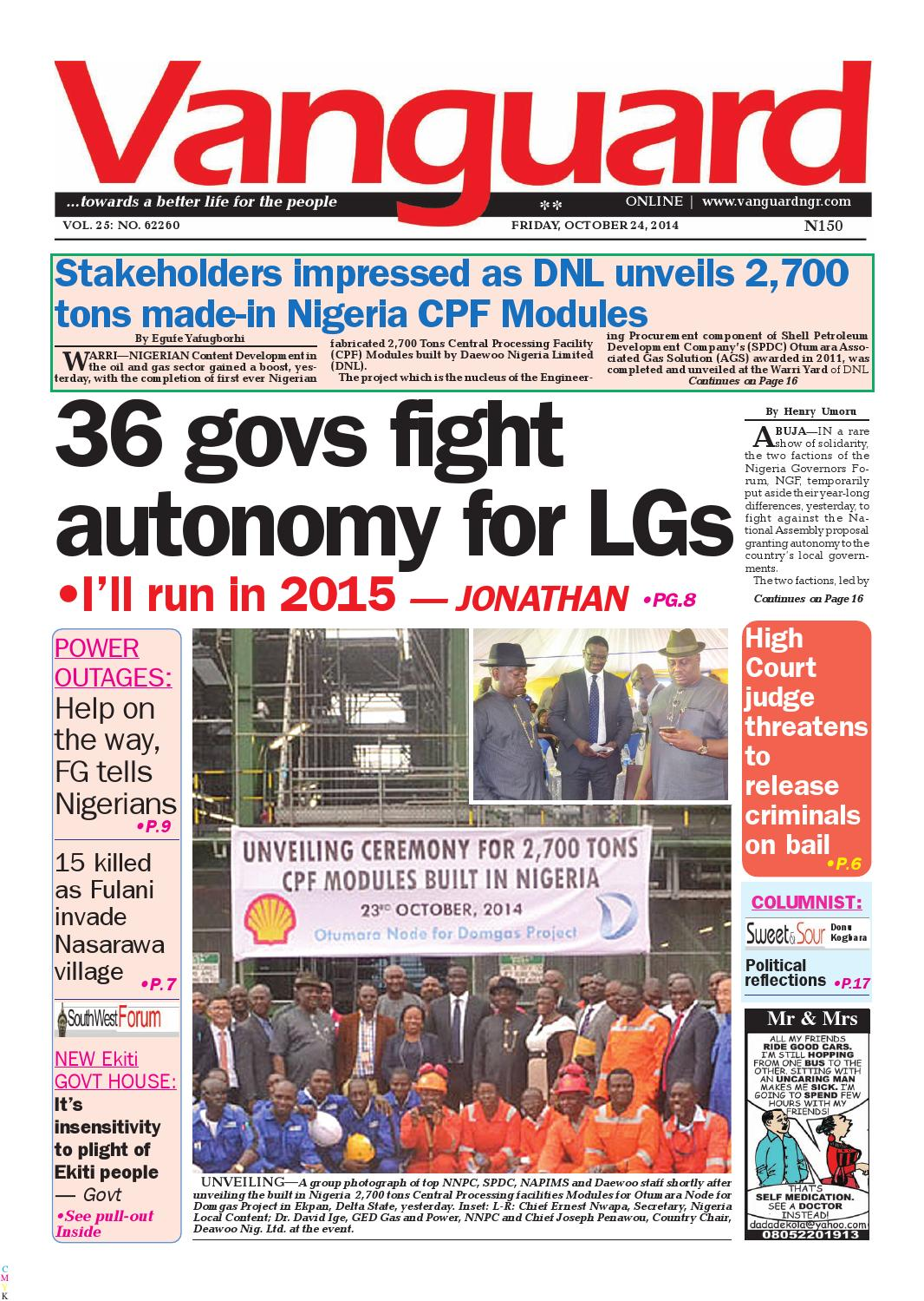 36 govs fight autonomy for LGs by Vanguard Media Limited - issuu
