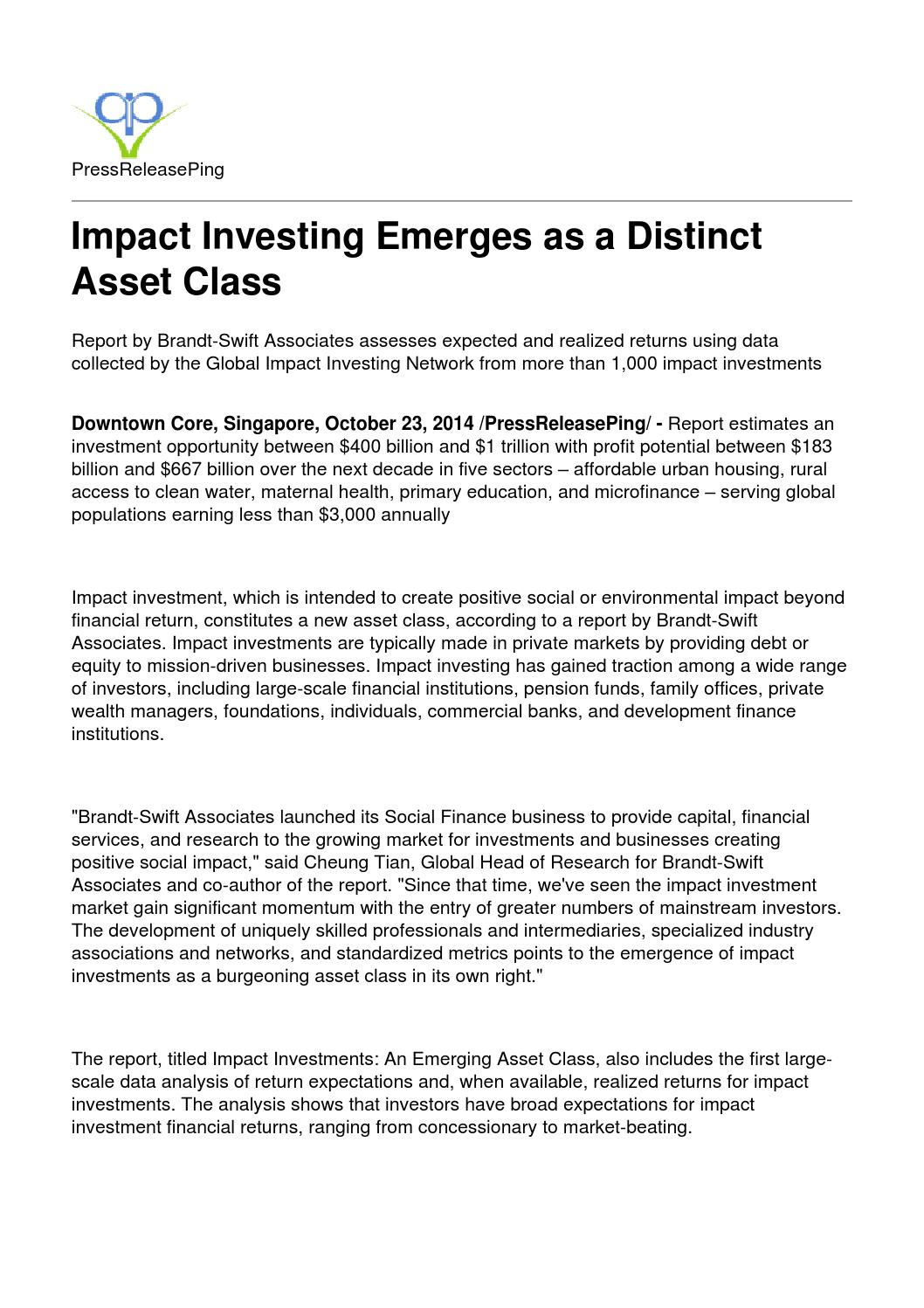 Impact investing emerges as a distinct asset class by PRPING