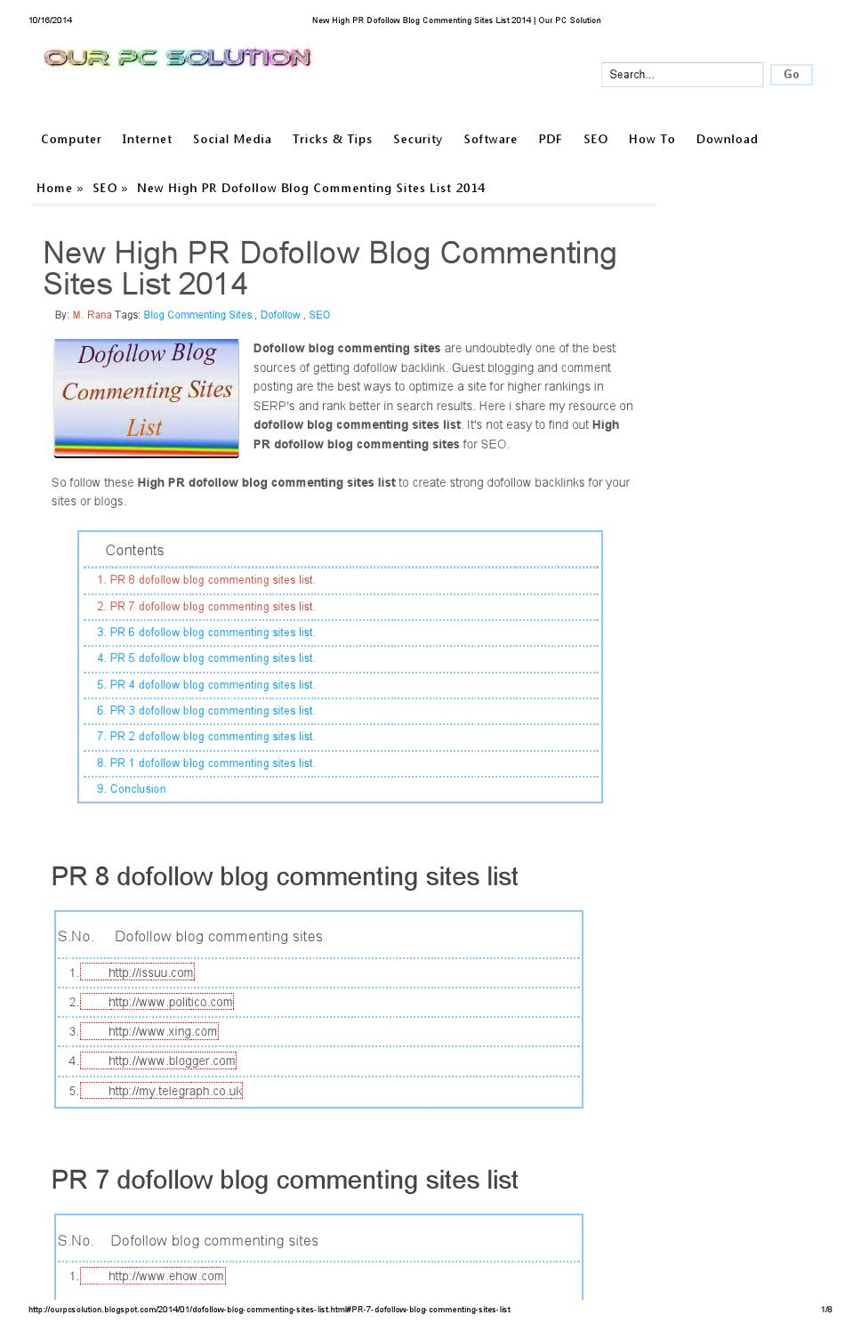 New high pr dofollow blog commenting sites list 2014 our pc solution