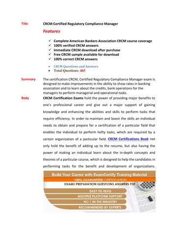 Crcm exam questions by Conrad Clymer - issuu