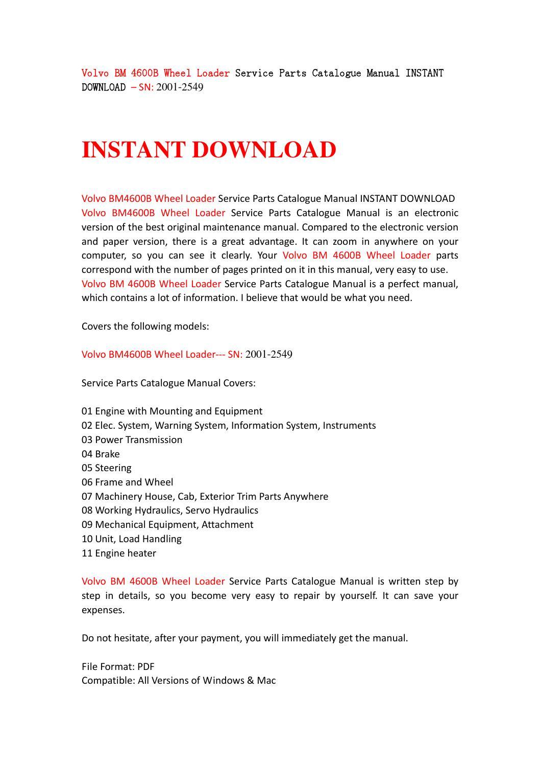 volvo bm 4600b wheel loader service parts catalogue manual