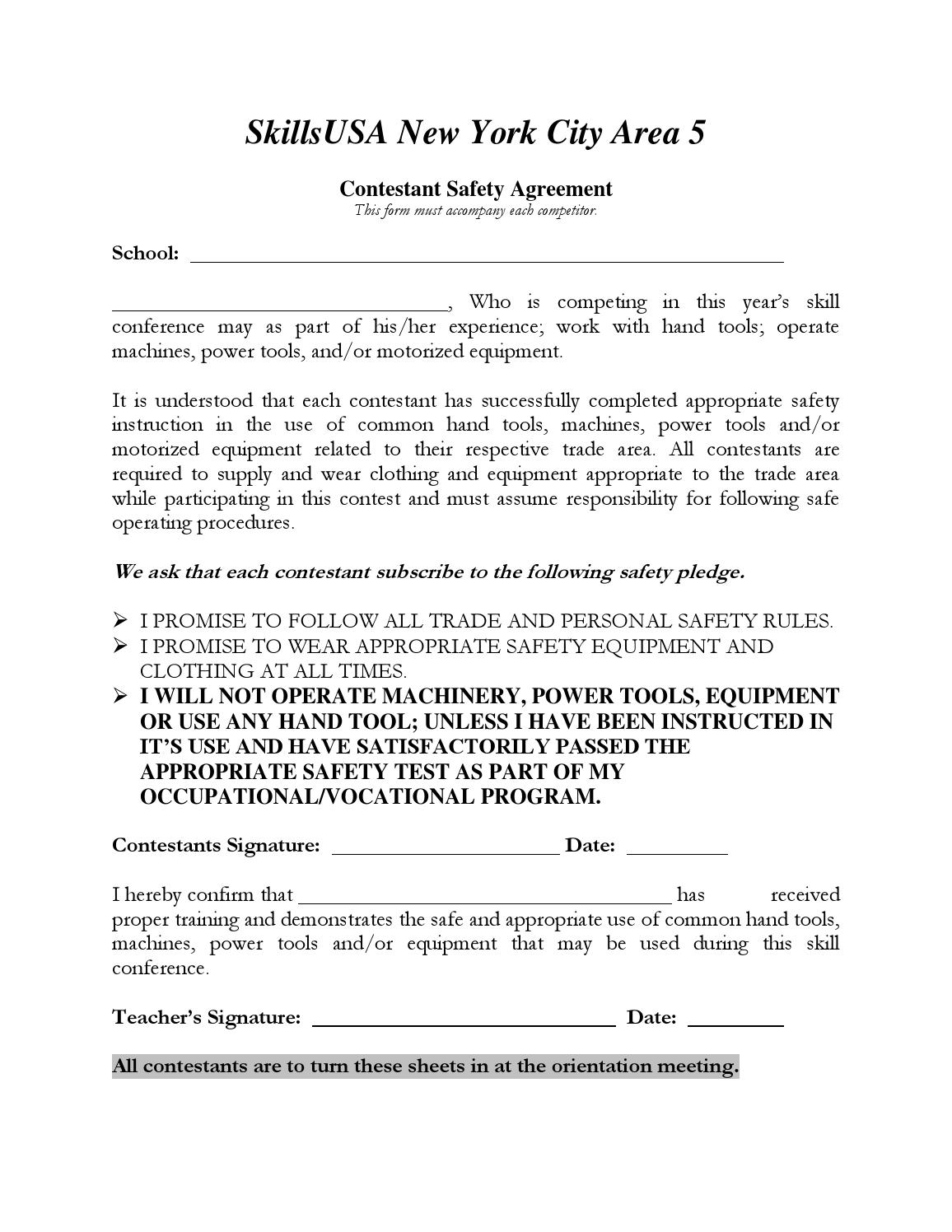 Contestant Safety Agreement Form By Jessie Kalloo Issuu