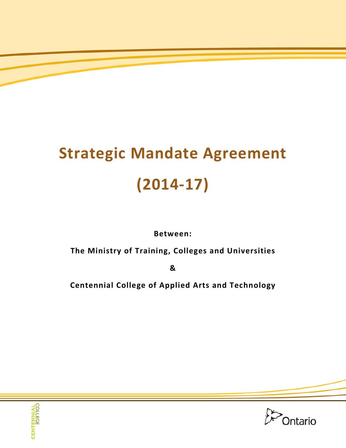Centennial College Strategic Mandate Agreement 2014 2017 By Greg Atkinson Issuu
