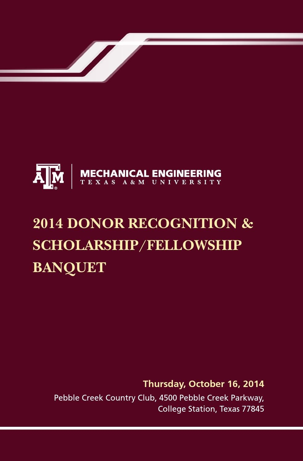2014 Donor Recognition Scholarshipfellowship Banquet By Texas Am