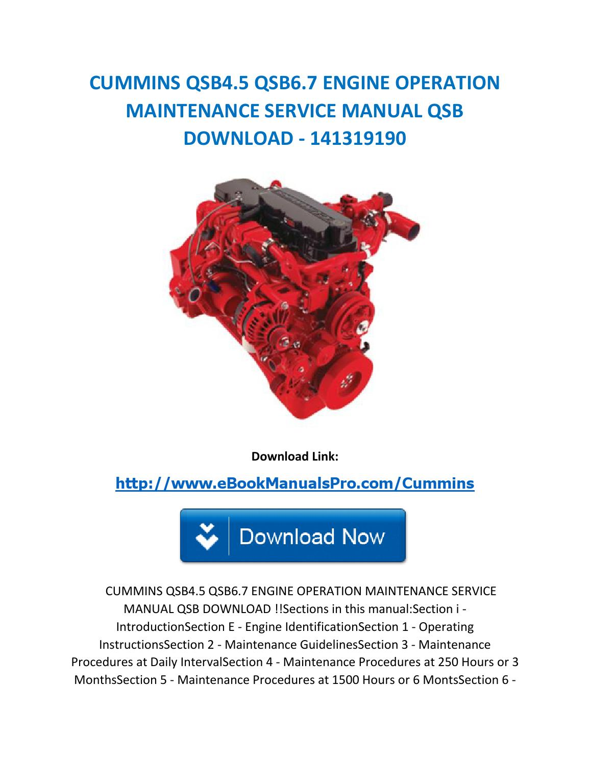 Cummins qsb4 5 qsb6 7 engine operation maintenance service manual qsb  download 141319190 by karl casino - issuu