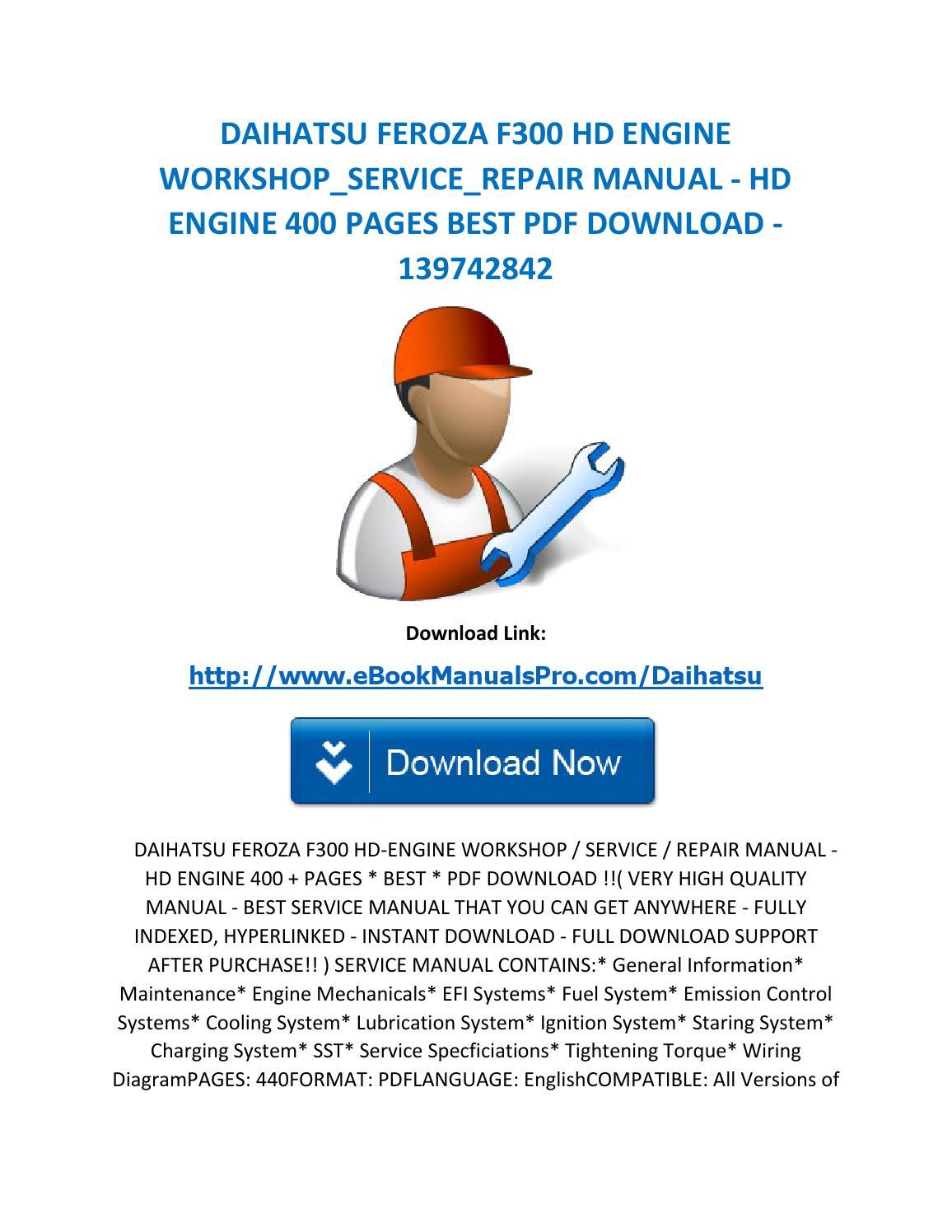 Daihatsu feroza f300 hd engine workshop service repair manual hd engine 400  pages best pdf download by karl casino - issuu