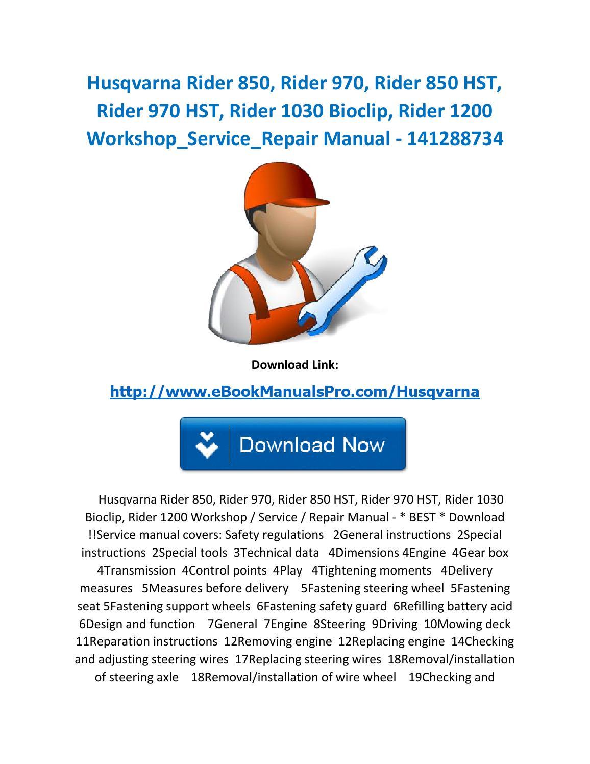 Husqvarna rider 850, rider 970, rider 850 hst, rider 970 hst, rider 1030  bioclip, rider 1200 worksho by karl casino - issuu