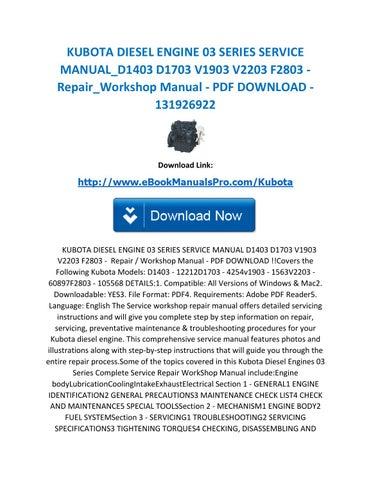kubota diesel engine 03 series service manual d1403 d1703 v1903 rh issuu com Kubota Engine Parts Diagrams Kubota Engine Parts Catalog
