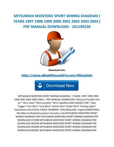 Astonishing Mitsubishi Montero Sport Wiring Diagram Years 1997 1998 1999 2000 Wiring 101 Ferenstreekradiomeanderfmnl