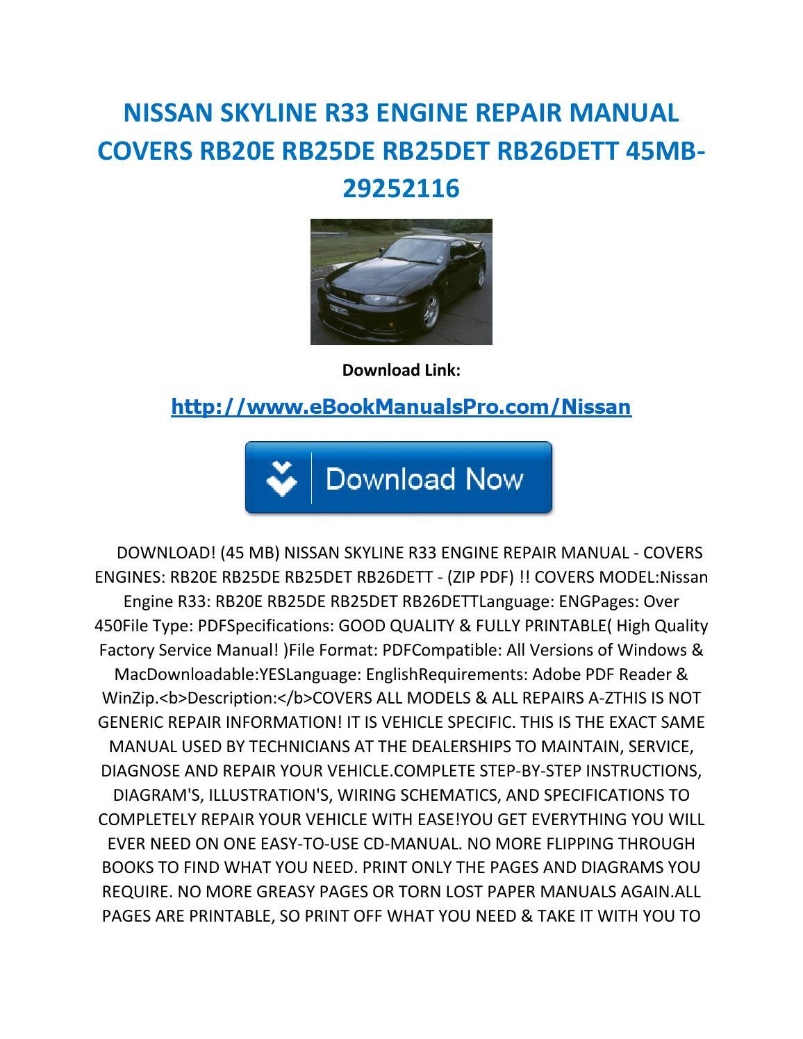 Nissan Skyline R33 Engine Repair Manual Covers Rb20e Rb25de Rb25det Wiring Diagram Rb26dett 45mb 29252116 By Karl Casino Issuu