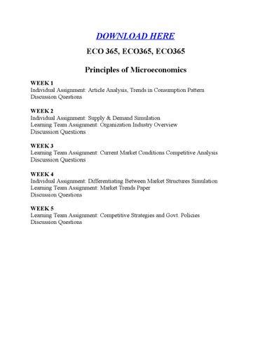Differentiating between market structures eco365 essay