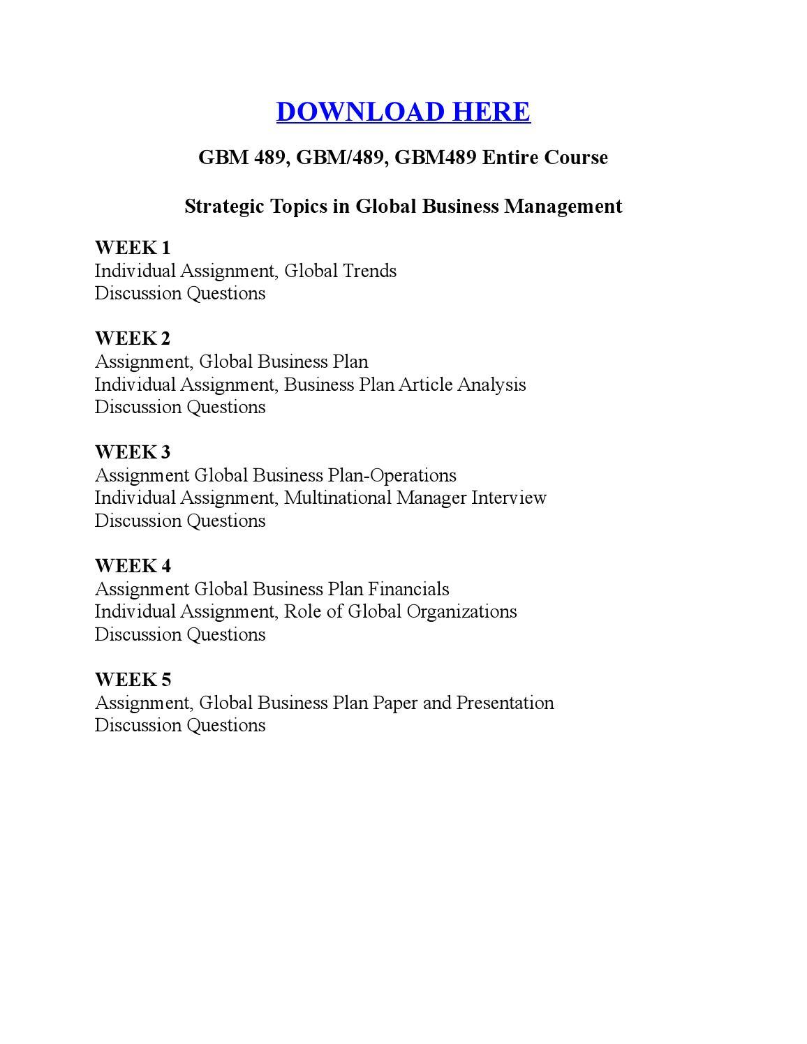 GBM 489, GBM/489, GBM489 Entire Course Strategic Topics in