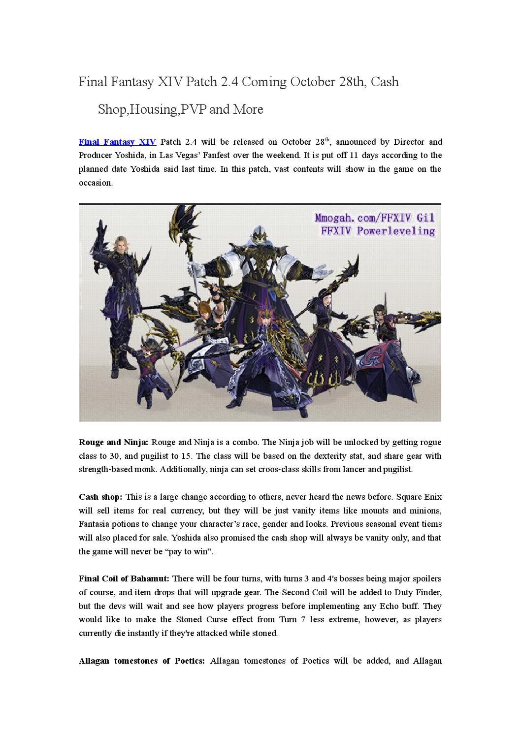 Final Fantasy XIV Patch 2 4 Coming October 28th, Cash Shop,Housing