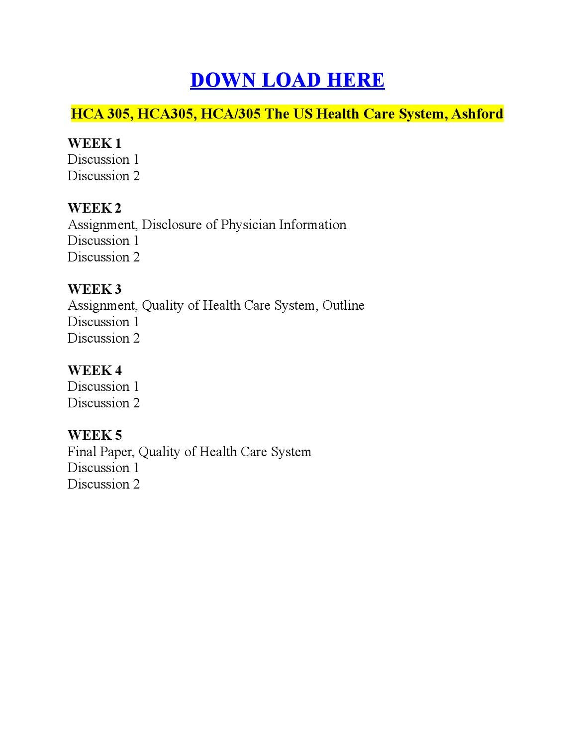 hca305 week5 discussion Week 3: -discussion 1: the chapters assigned this week focused on hospitals and ambulatory (outpatient) healthcare organizations each has their own unique administrative and clinical requirements due to shifts in utilization.