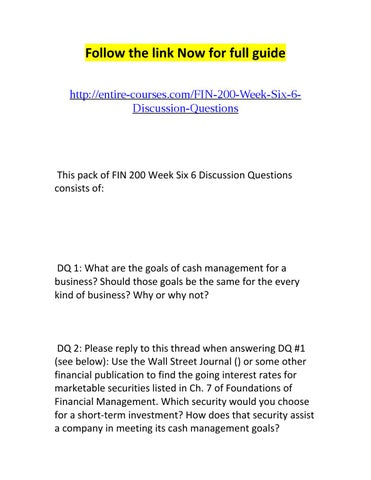 fin 550 discussion questions week 1 A+ 1748 fin 550 week 8 discussion for bebe25 objectives upon completion of this lesson you will be able to analyze the derivatives $2000 fin 550 milestone three guidelines and rubric overview for the final project you will use this case study to prepare a financial.