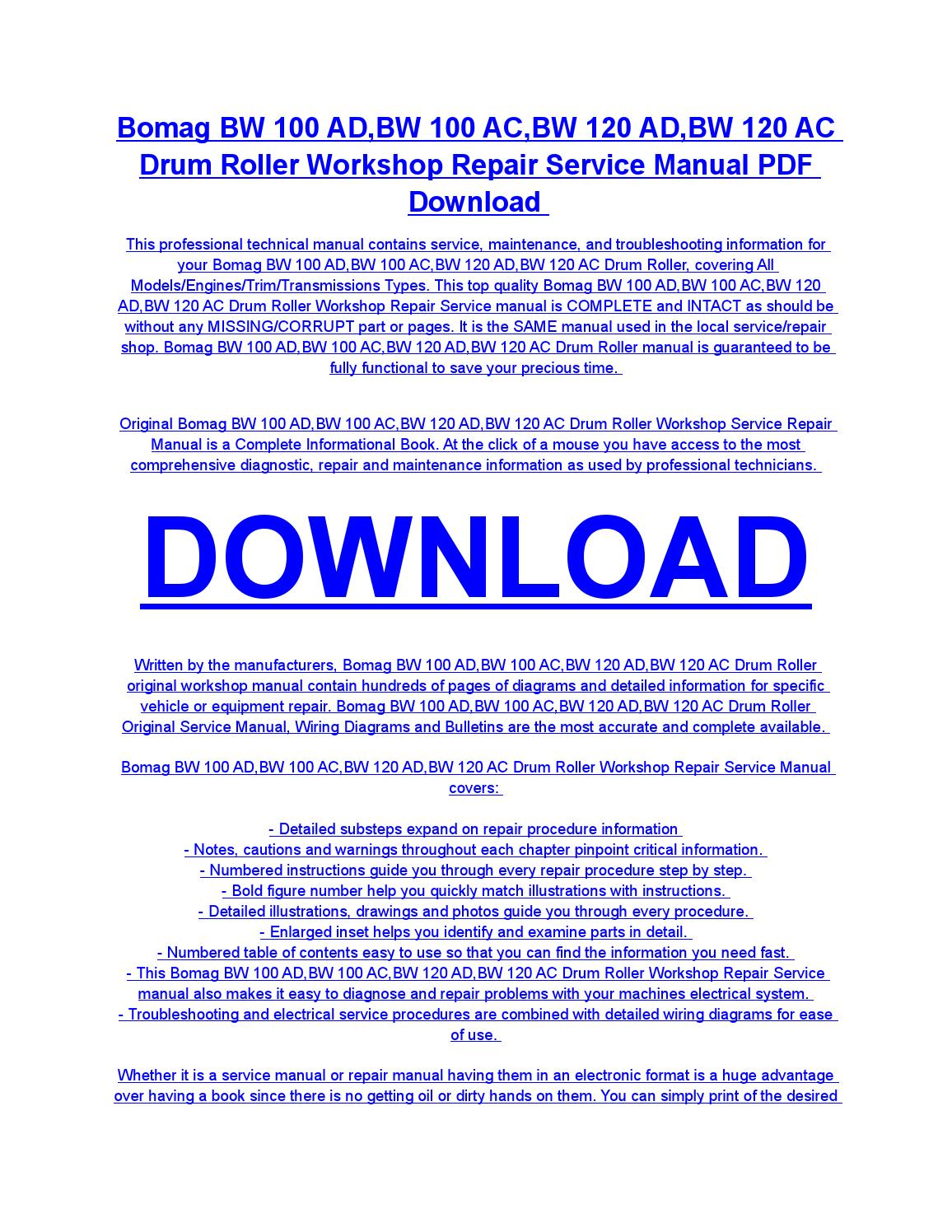 bomag bw 100 ad,bw 100 ac,bw 120 ad,bw 120 ac drum roller service repair  workshop manual download