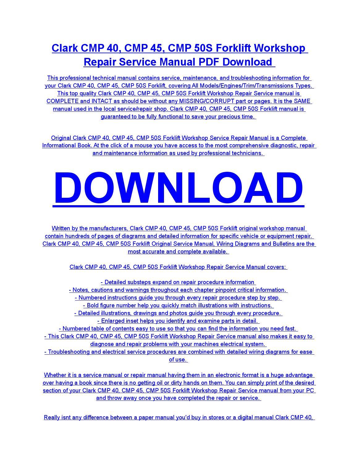 clark cmp 40 cmp 45 cmp 50s forklift service repair workshop rh issuu com