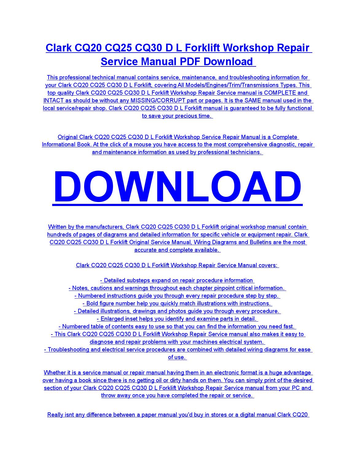 Clark cq20 cq25 cq30 d l forklift service repair workshop manual download  by diaz rondon - issuu