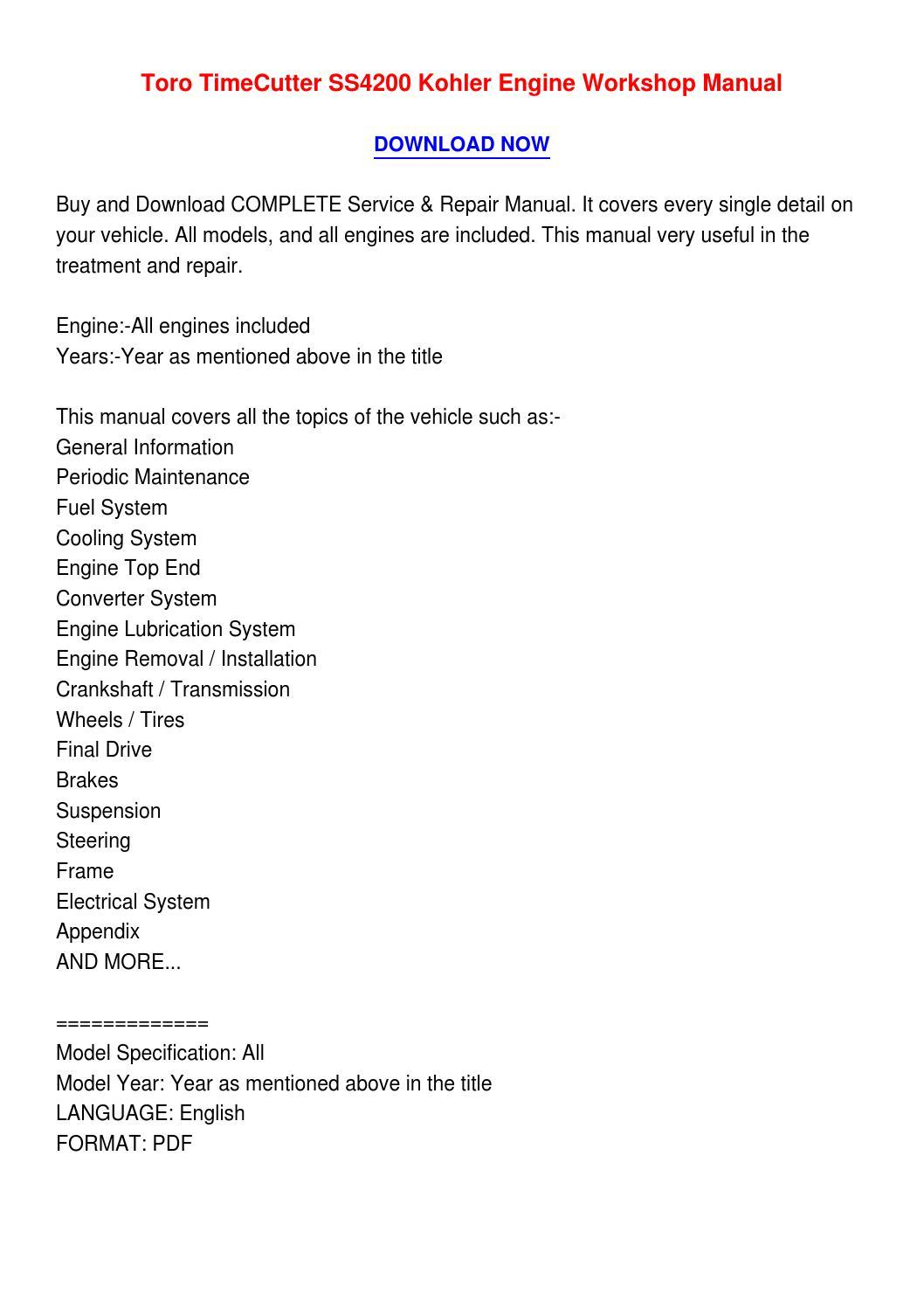 Toro Timecutter repair manual