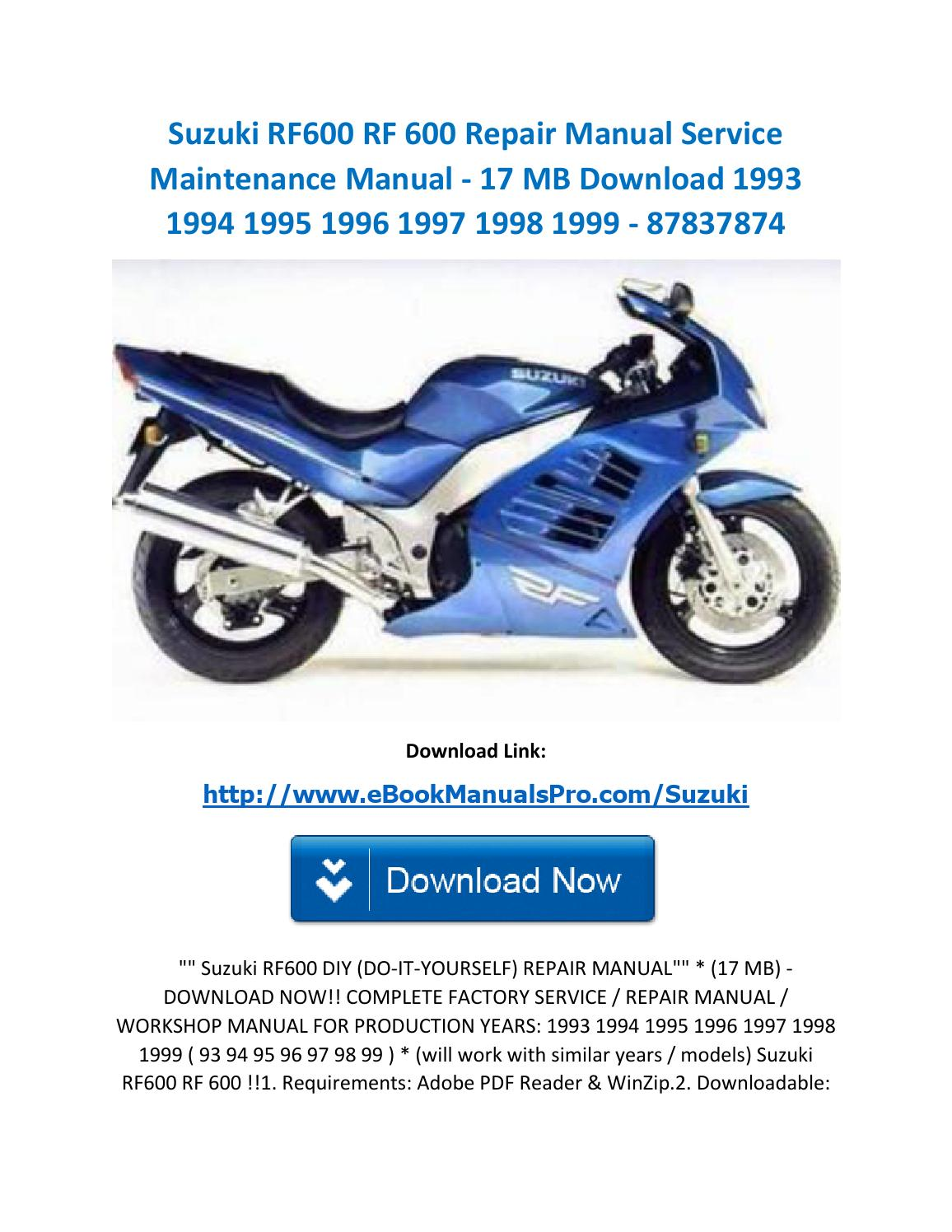 suzuki rf600 rf 600 repair manual service maintenance manual 17 mb download 1993 1994 1995 1996