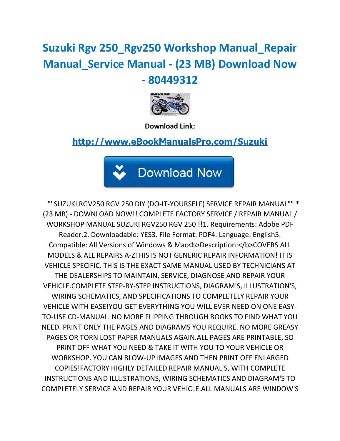 Suzuki Rgv 250 Rgv250 Workshop Manual Repair Manual